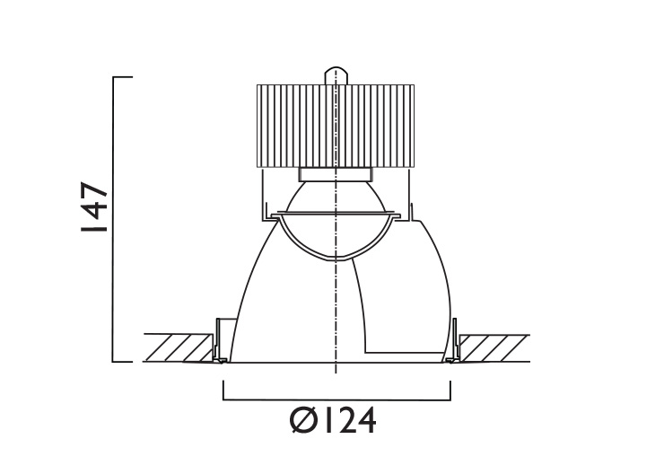 VP X124 Wallwasher Line Drawing